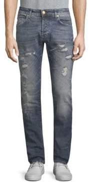Pierre Balmain Slim-Fit Distressed Jeans