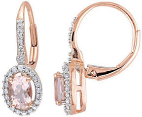 Asstd National Brand Oval Pink Morganite & Diamond Earrings