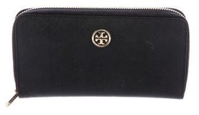 Tory Burch Leather Zip-Around Wallet - BLACK - STYLE
