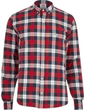 River Island Mens Red Franklin and Marshall casual check shirt