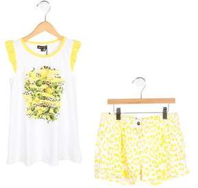 Roberto Cavalli Girls' Lemon Print Sleeveless Shorts Set w/ Tags
