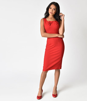Stop Staring 1940s Style Little Red Wiggle Dress