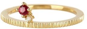 Bony Levy 18K Yellow Gold Diamond & Ruby Charm Ring
