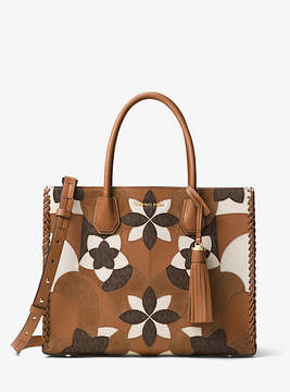 Michael Kors Mercer Large Floral Patchwork Leather Tote - BROWN - STYLE