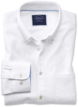 Charles Tyrwhitt Slim Fit Button-Down Washed Oxford Plain White Cotton Casual Shirt Single Cuff Size Small