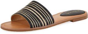 Tahari Padma Two-Tone Raffia Flat Slide Sandal