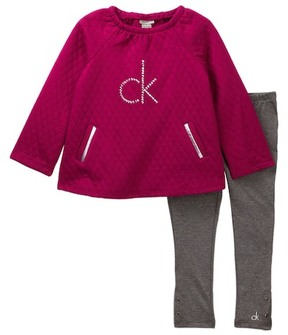 Calvin Klein Quilted Fleece Tunic & Legging Set (Toddler Girls)