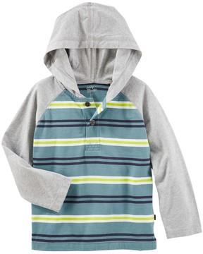 Osh Kosh Toddler Boy Striped Raglan Pullover Hooded Top