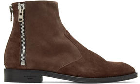 Givenchy Brown Suede Three-Zip Boots