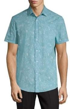 Report Collection Ocean-Print Cotton Button-Down Shirt
