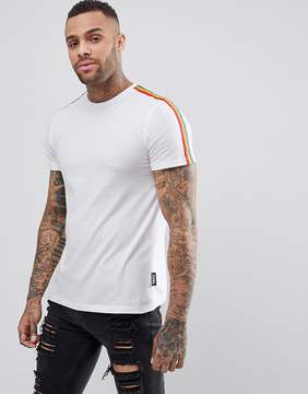 Jaded London T-Shirt In White With Rainbow Taping