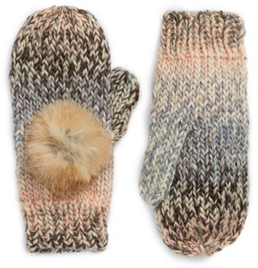 Shiraleah Women's Mia Mittens With Genuine Rabbit Fur Pompoms - Pink