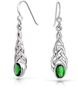 Celtic Bling Jewelry Simulated Emerald Glass Knot Sterling Silver Drop Earrings.