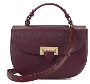 Aspinal of London | Letterbox Saddle Bag In Burgundy Saffiano | Burgundy saffiano