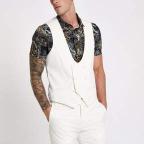 River Island Mens White double breasted suit vest