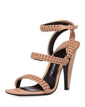 Tom Ford Chain Strappy 105mm Sandals, Beige