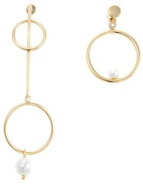 Danielle Nicole Balance Simulated Pearl Goldtone Convertible Mismatched Earrings