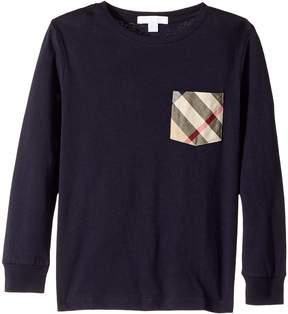 Burberry Long Sleeve Tee w/ Check Pocket Boy's Long Sleeve Pullover
