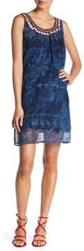 Desigual Sleeveless Print Embroidered Dress