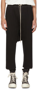 Rick Owens Black Fleece Cropped Drawstring Lounge Pants
