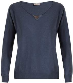 Brunello Cucinelli Embellished-neck cashmere sweater