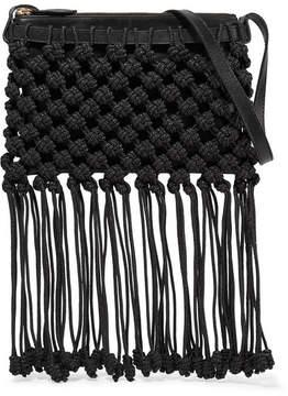 Ulla Johnson Rio Macramé And Leather Shoulder Bag - Black