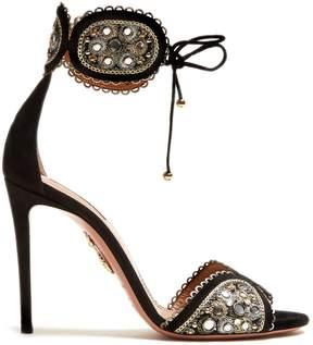 Aquazzura Jaipur 115 embroidered suede sandals
