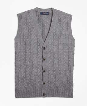 Brooks Brothers Merino Wool Cable Button-Front Vest