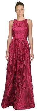 David Meister Embroidered Tulle Gown.
