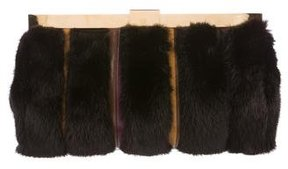 Dolce & Gabbana Leather-Trimmed Mink Clutch - BLACK - STYLE