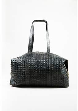 Fendi Pre-owned Vintage Gray Leather Croc Embossed Top Handle Duffel Bag.