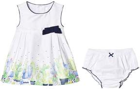 Mayoral White Cactus Print and Bow Dress with Briefs
