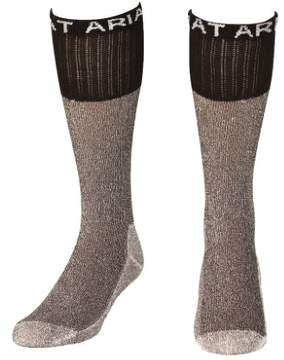 Ariat Mens Boot Socks Over the Calf Reinforced XL Brown A2502402