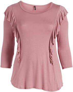 Celeste Dark Pink Ruffle-Accent Three-Quarter Sleeve Tunic - Plus