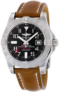 Breitling Avenger II GMT Automatic Black Dial Brown Leather Men's Watch