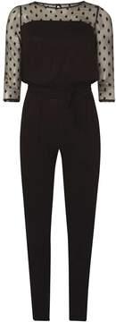 Dorothy Perkins Black Spotted Mesh Jumpsuit