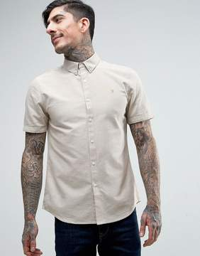 Farah Brewer Short Sleeve Shirt Oxford Slim Fit Buttondown in Beige