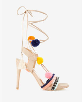 Express pom and tassel lace-up heeled sandals