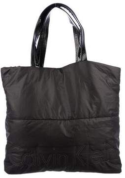 Calvin Klein Patent Leather-Trimmed Tote
