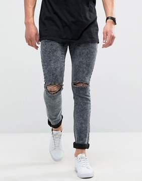 Loyalty And Faith Sid Skinny Jeans in Black Acid Wash with Knee Rips