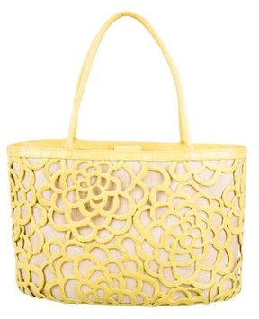 Nancy Gonzalez Laser Cut Floral Crocodile Tote