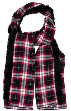 Donni Charm Fur-Trimmed Plaid Shawl w/ Tags