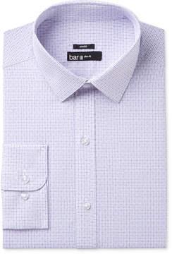 Bar III Men's Slim-Fit Stretch and Easy Care Purple Diamond Windowpane Dress Shirt, Created for Macy's