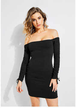GUESS Ruched Off-The-Shoulder Dress