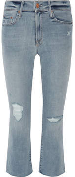 Mother The Insider Crop Distressed High-rise Flared Jeans - Blue