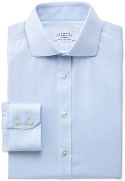 Charles Tyrwhitt Extra Slim Fit Spread Collar Non-Iron Mouline Stripe Sky Blue Cotton Dress Shirt Single Cuff Size 16/38