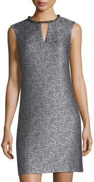 Donna Ricco Beaded-Neck Sleeveless Dress