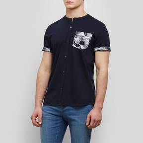 Kenneth Cole New York Short-Sleeve Printed Pocket Collarband Shirt