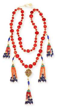 Devon Leigh Two-Row Copper-Infused Red Coin Tassel Necklace