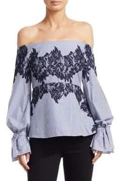 Peserico Stripe Isadora Bell-Sleeve Cotton Top
